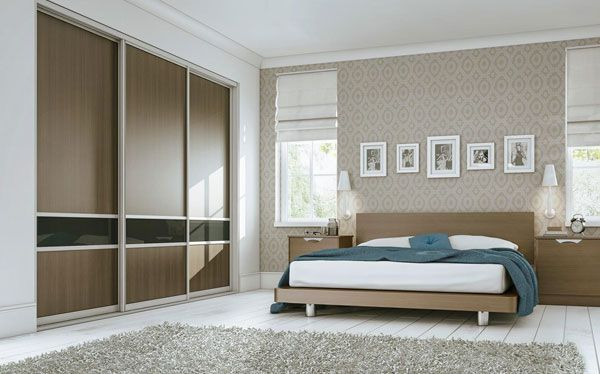 Sliderobes fitted wardrobe with walnut and charcoal sliding doors