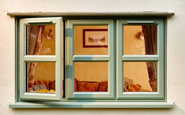 UPVC double glazed windows in green