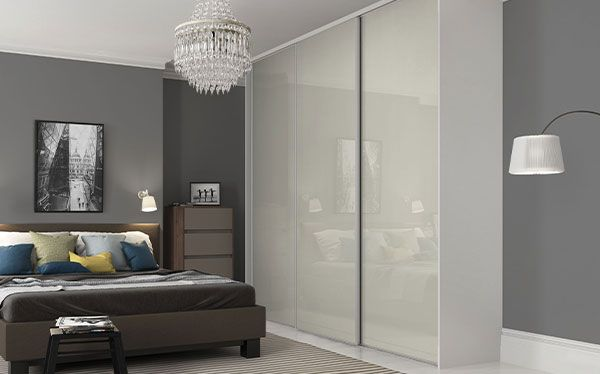 Wickes sliding wardrobe with arctic white glass