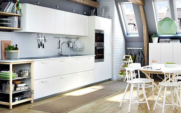 Kitchen layouts Ikea one wall open-plan kitchen
