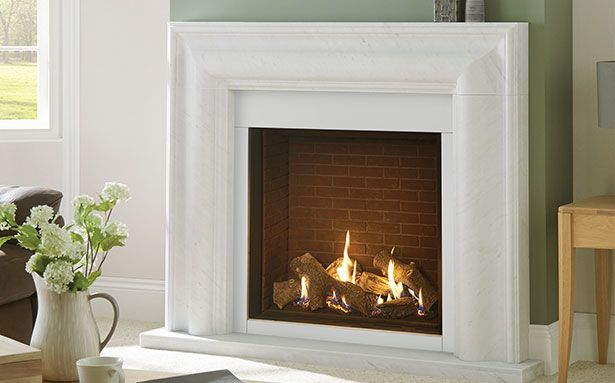 GALLERY GAS INSET Stovax Riva2 750 in Grafton Mantel portrait inset glass fronted