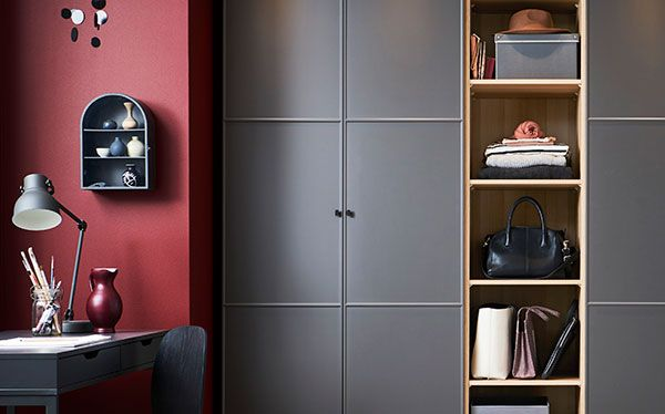 Ikea Pax fitted wardrobe in matt black