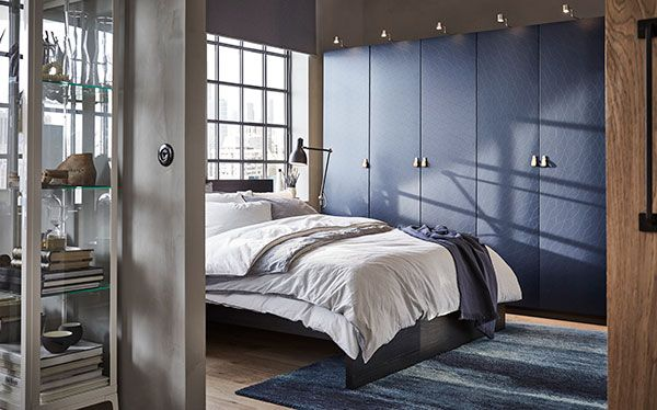 Ikea Pax textured fitted wardrobe in blue