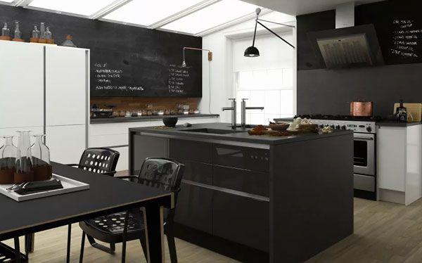 Modern monochrome Wren Living kitchen