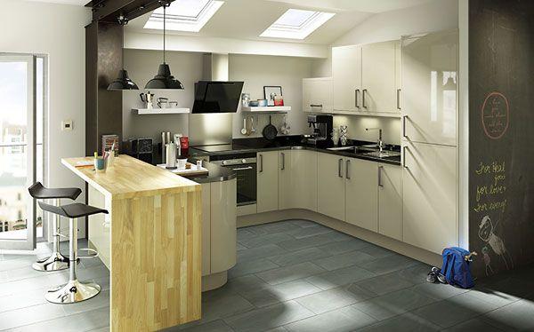 B&Q Santini Gloss Grey Slab fitted kitchen