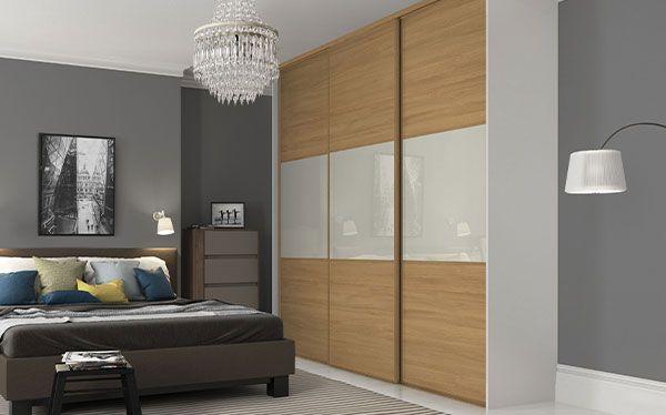Wickes oak sliding wardrobe with arctic white glass