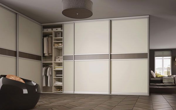 Sliderobes L-shaped fitted sliding wardrobe in mussel and grey-brown walnut