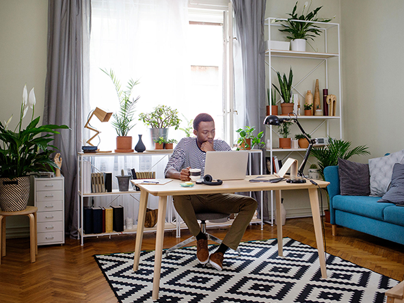 Add some plants to your home office setup for a burst of colour