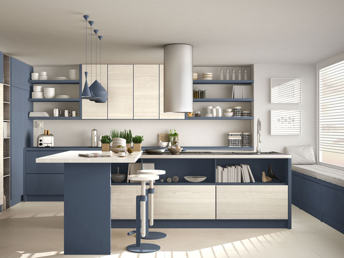 Modern white and blue kitchen island with seating