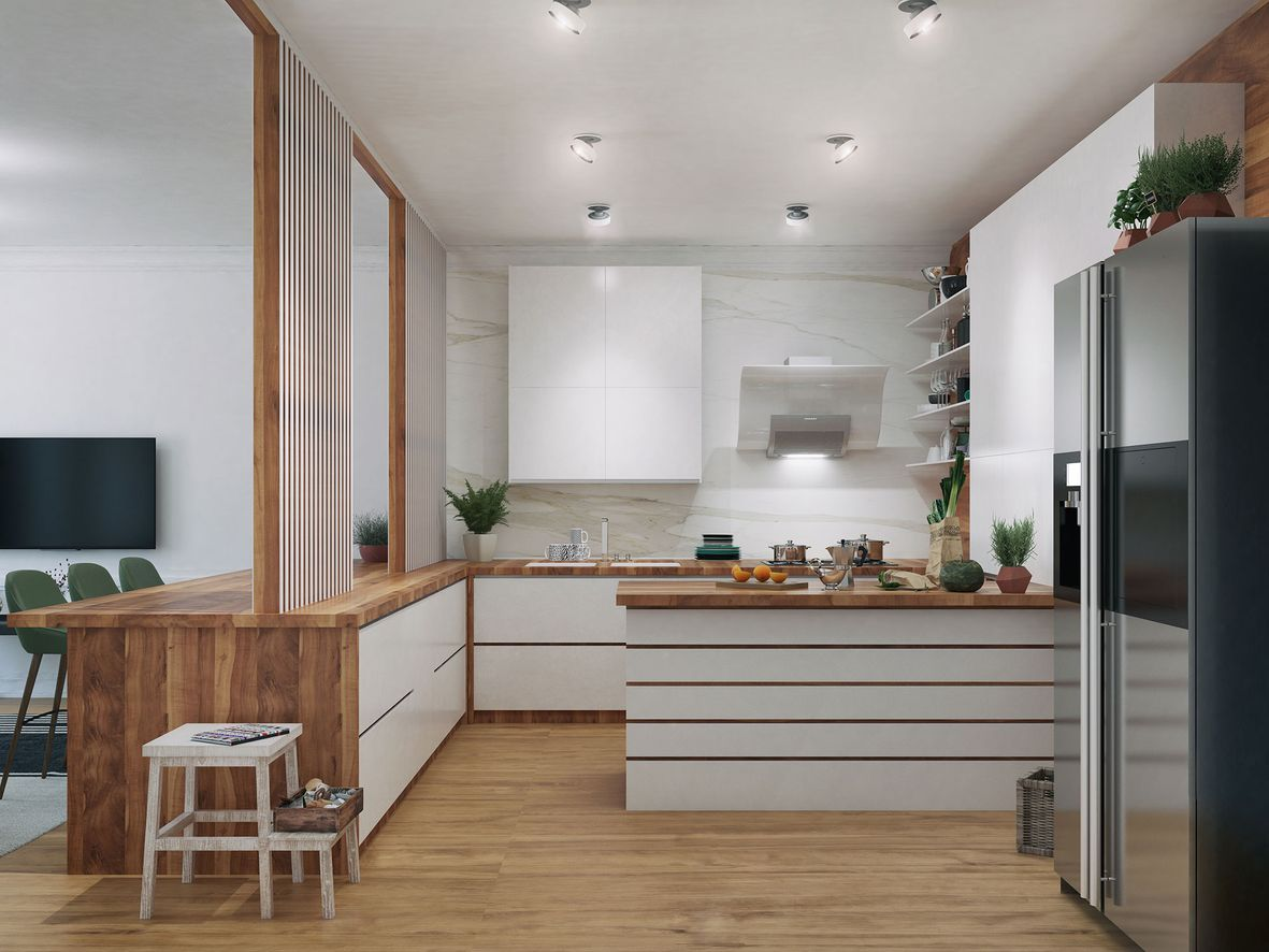 White and wood kitchen peninsula in a modern kitchen