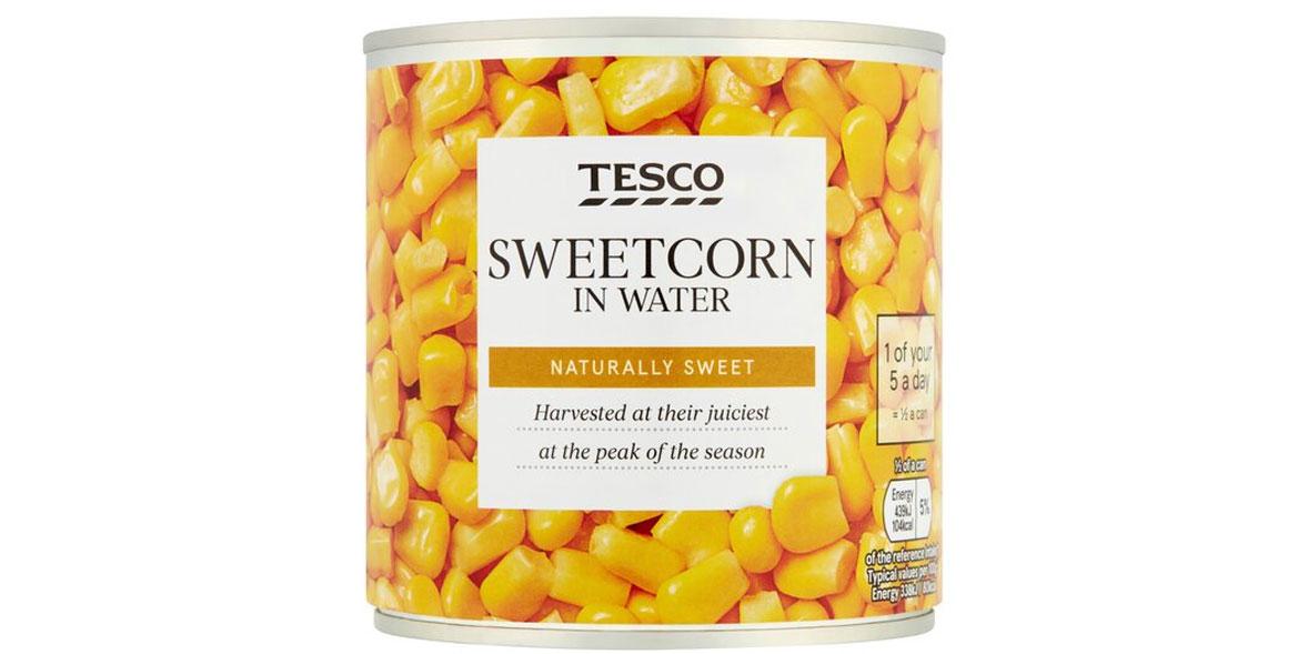 Tesco sweetcorn in water