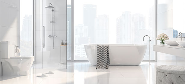 White bathroom full length window 485292