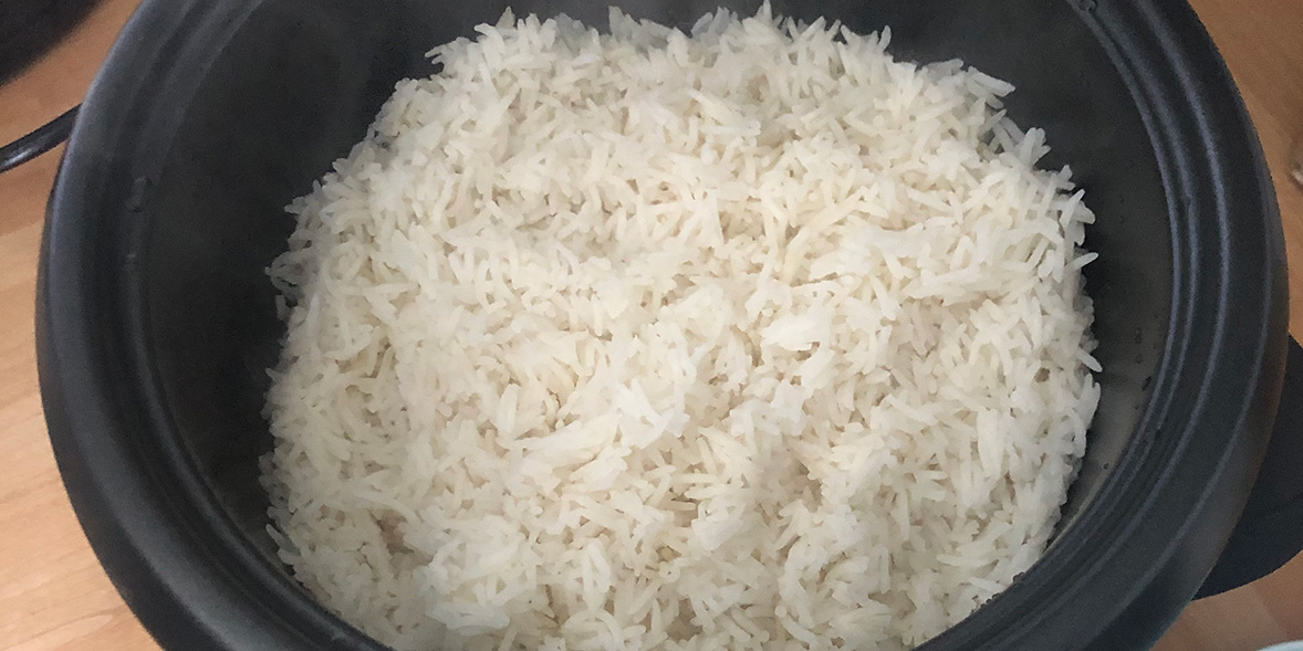 Basmati rice cooked in a rice cooker