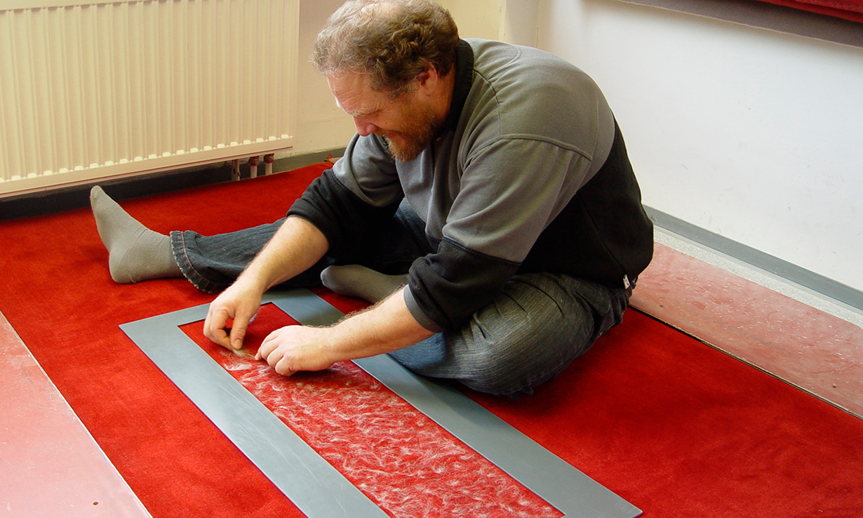 Pet hair being laid out on the test carpet