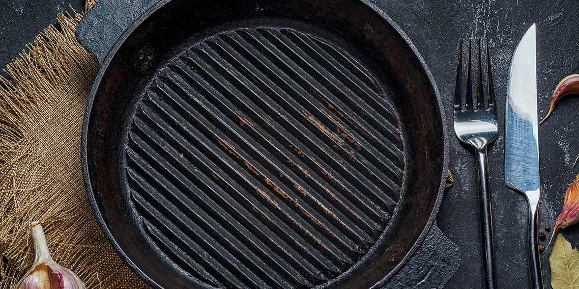 A scratched griddle pan