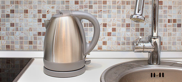 Kettle next to sink