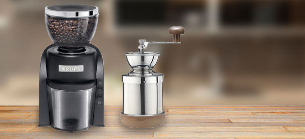 Two coffee grinders on the kitchen counter