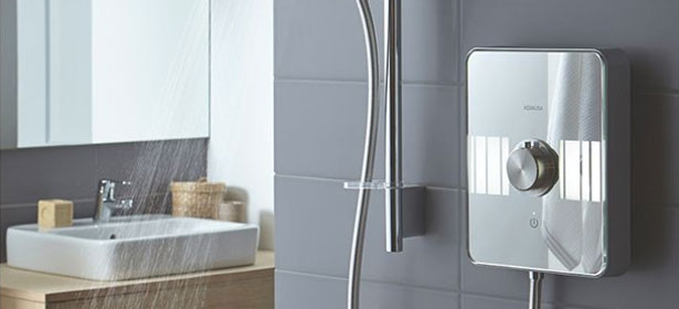 An electric shower in a bathroom