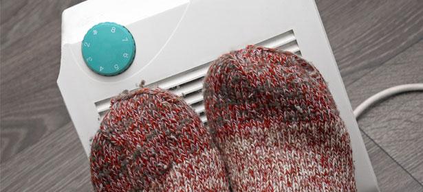 Feet on heater