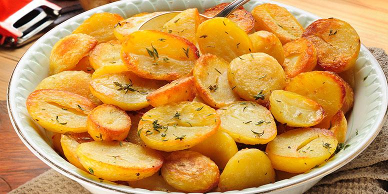 Dish of roast potaotes