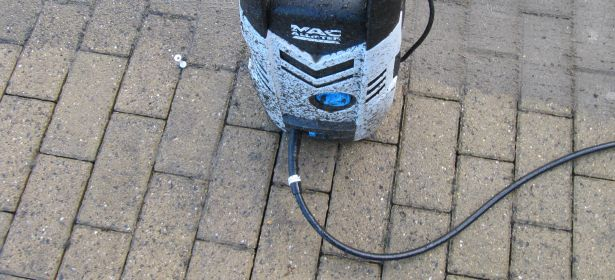 pressure washer on a patio