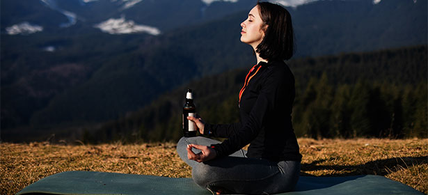 Lady drinking alcohol-free beer