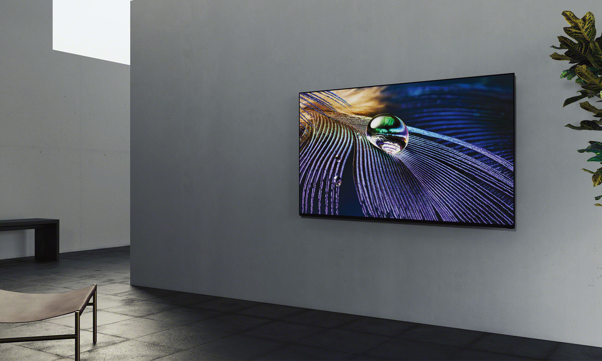 Sony XR-55A90J 4K OLED TV mounted on a wall