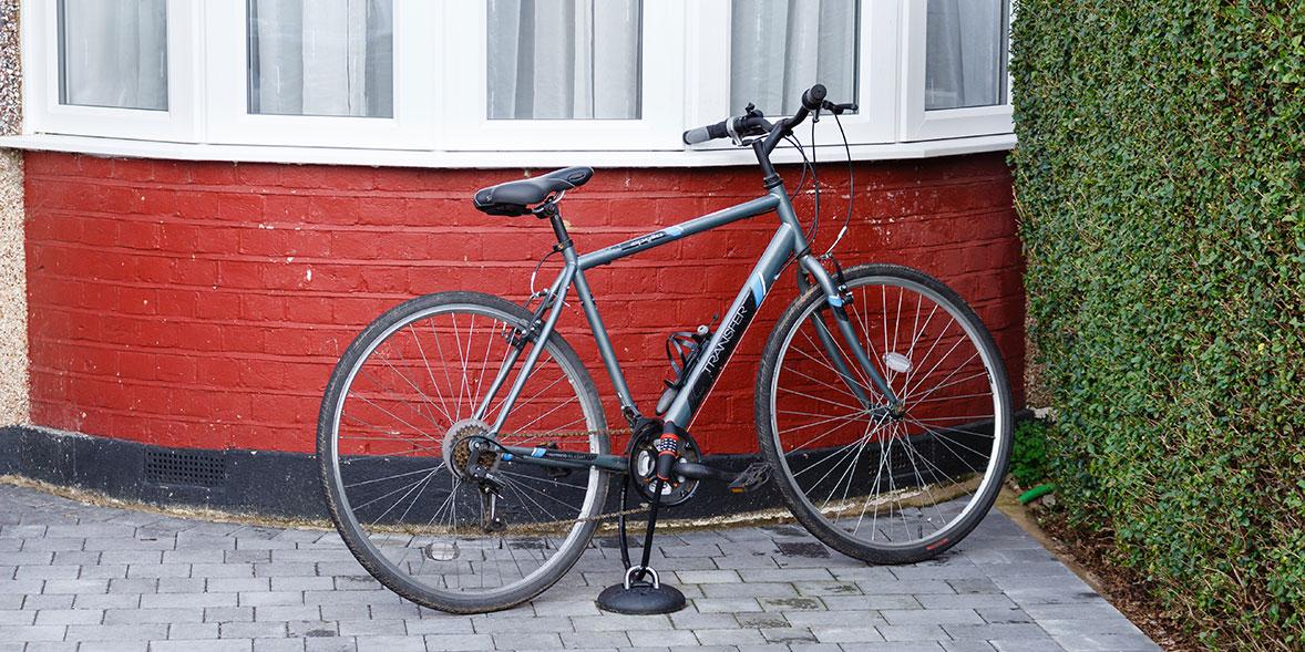 bike locked to ground anchor
