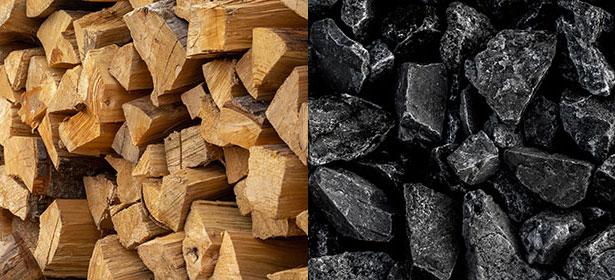 seasoned wood and smokeless coal