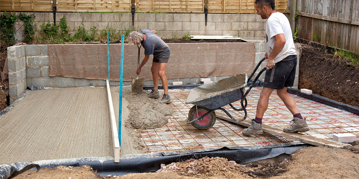 Laying concrete foundations for shed
