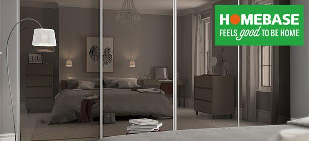 Homebase bronze mirrored sliding wardrobe with homebase logo 488663