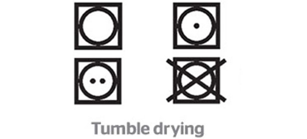 Tumble drying clothes label