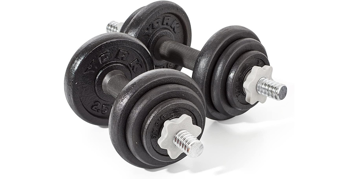 York Fitness 20kg adjustable dumbbell set.