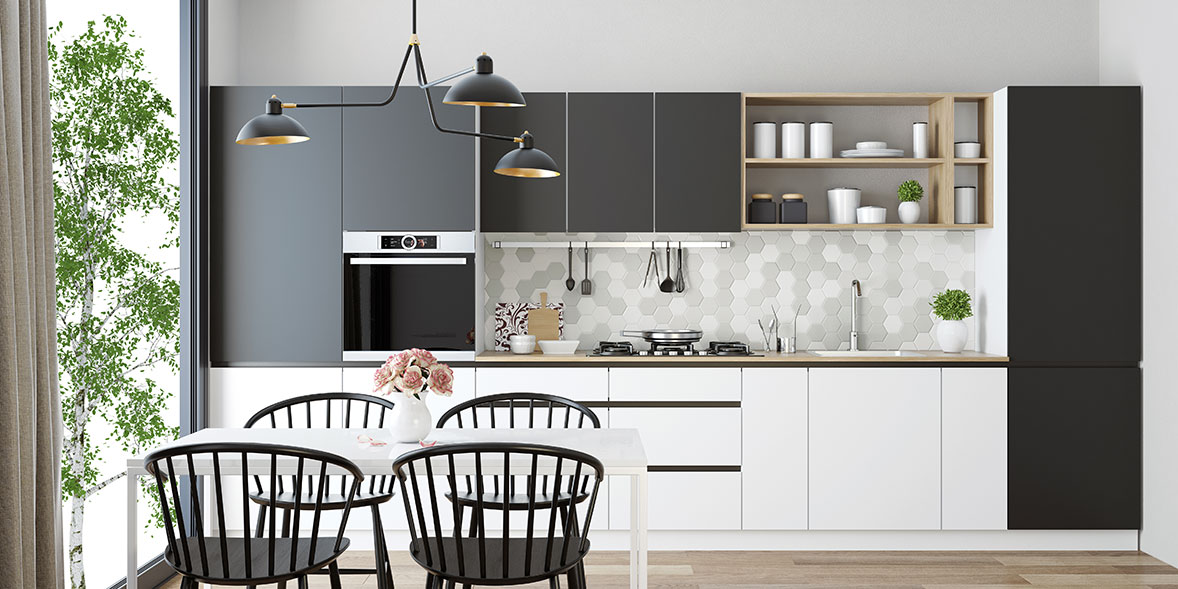 Black and white kitchen with modern handleless units