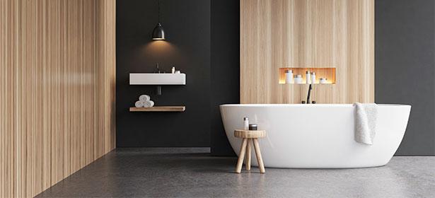 Bathroom black and wood walls