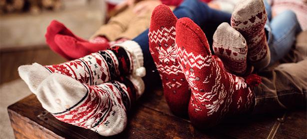 Family wearing woolly socks 485635