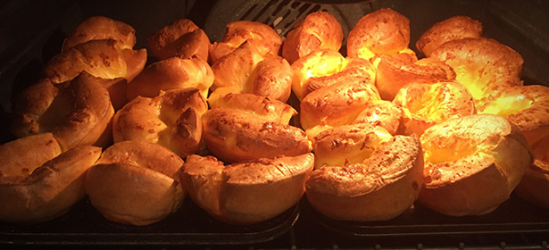 Yorkshire puddings on oven shelf