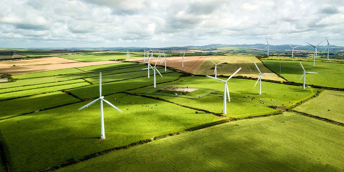 Onshore wind farm in fields