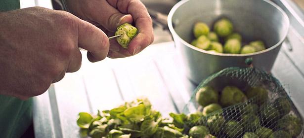 Preparing brussel sprouts