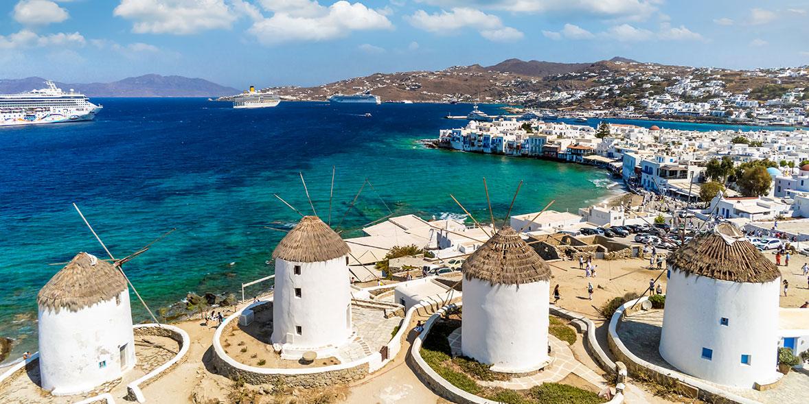 Famous windmills by the sea in Mykonos, Greece