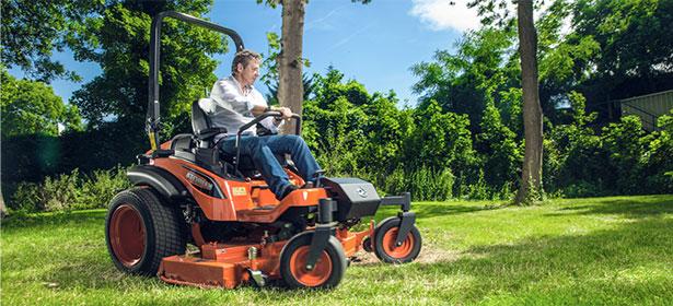 man using a garden tractor