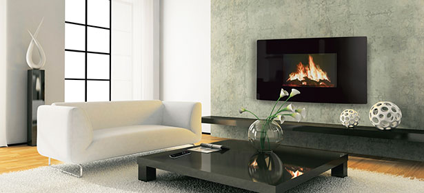 Electric stove in a living room with a cream sofa and black coffee table