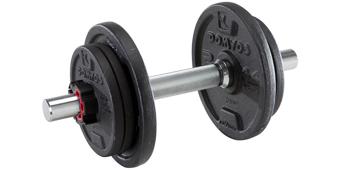 Domyos 10kg adjustable dumbbell.