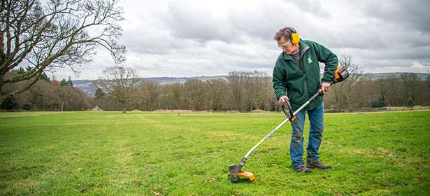 Grass trimmer cutting grass