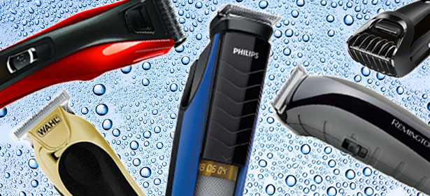 A compiltion image of various hair clippers and beard trimmers