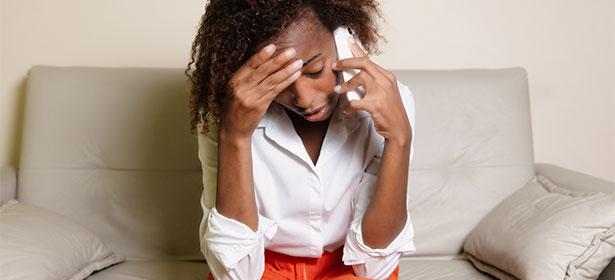 stressed woman phone