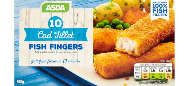 Asda 10 Cod Fillet Fish Fingers