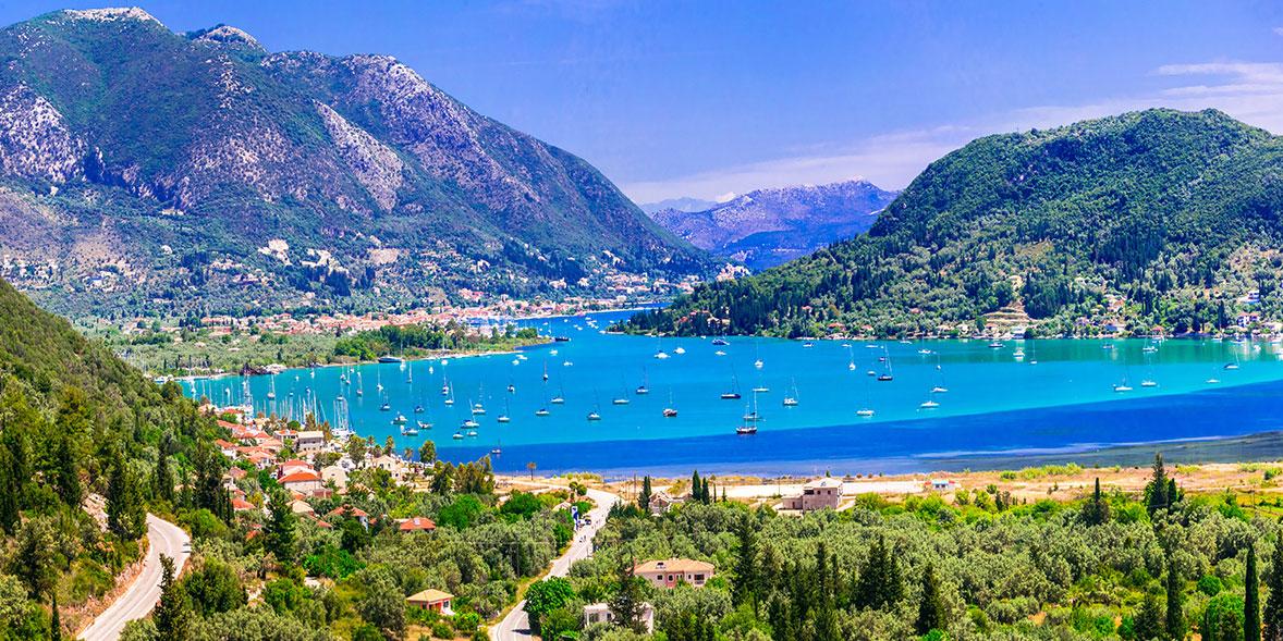 The sea and mountains in Lefkada, Greece