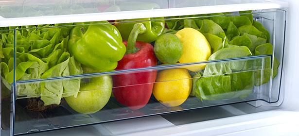 Vegetables in a fridge crisper drawer