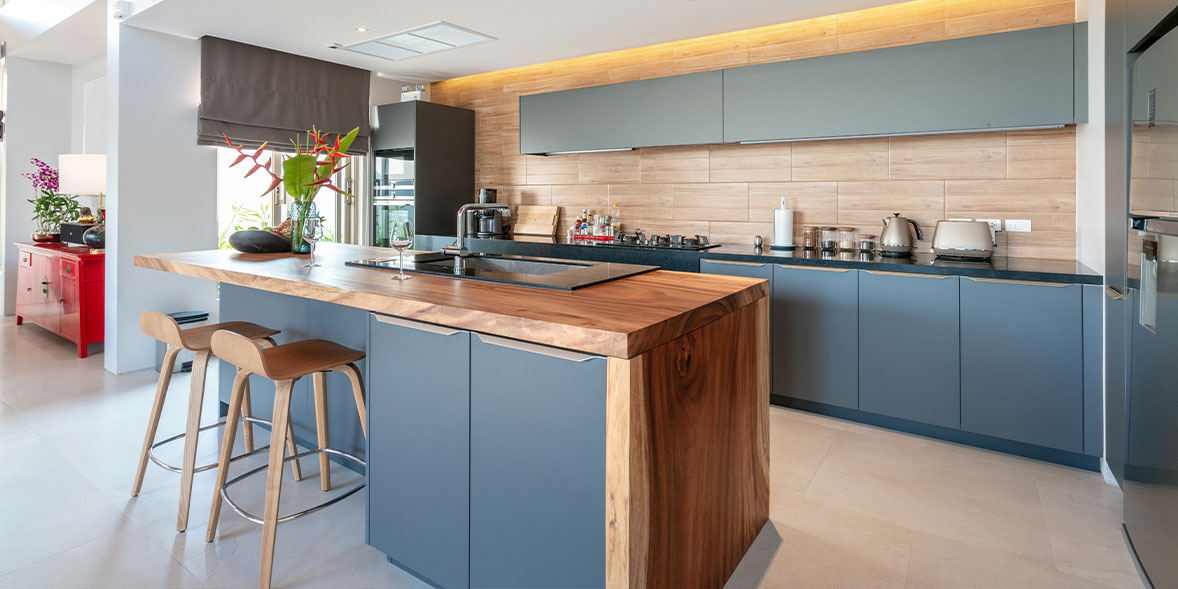 Modern kitchen with blue grey cabinets